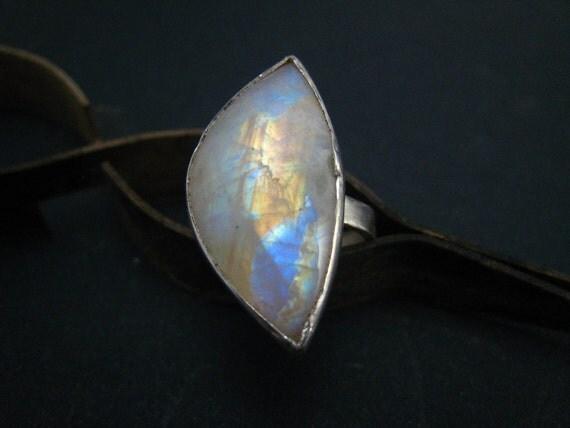Rainbow Moonstone Ring Fine Silver