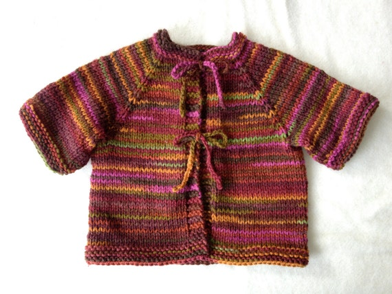 SALE: hand knit toddler cardigan with tie closure