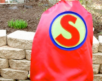 RED Kid Cape-PERSONALIZE/CUSTOMIZE Boys Superhero Cape - Choose the Initial - Superhero Birthday Party Costume