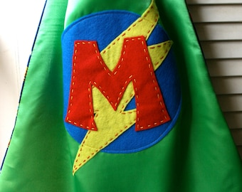Superhero Cape PERSONALIZED GREEN Boys Superhero Cape - Choose the Initial-Superhero Birthday Party Costume