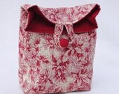 Red  and Cream Toile Poinsettia Gift Bag GiftAgain Mini