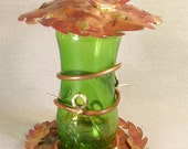 Copper Bird Feeder with Red Patina and Green Bottle Copper Garden Art