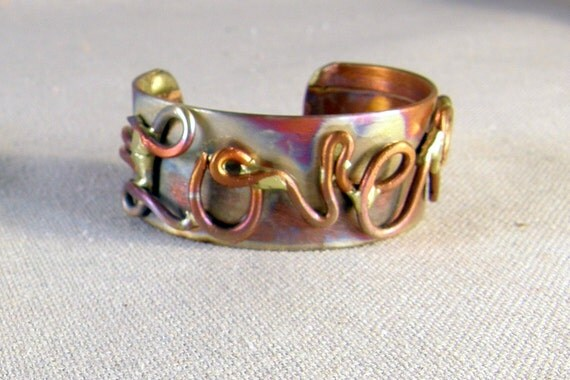 LOVE Heart Copper Cuff  Bracelet, Copper Jewelry