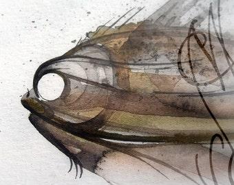"Martinefa's Original watercolor and Ink, presented in hand personalised frame - ""Fish #9"""