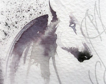 """Martinefa's Original watercolor and Ink, presented in hand personalised frame - Horse """"Cheval-1"""""""