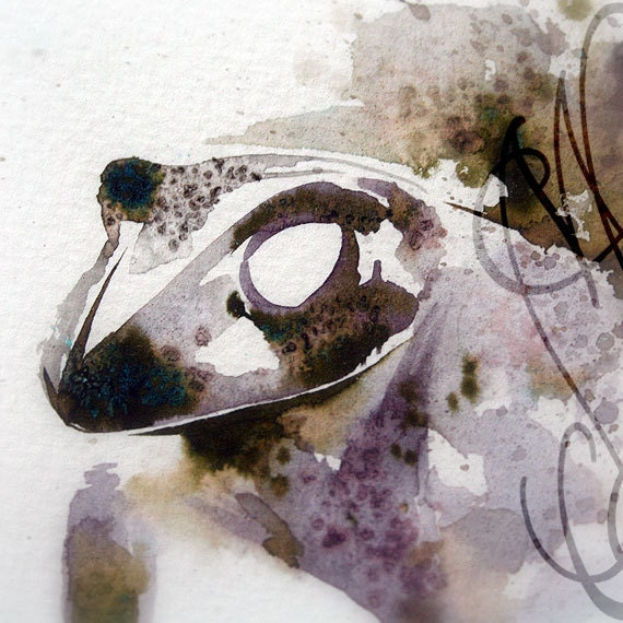 """Martinefa's Original watercolor and Ink, presented in hand personalised frame - """"Frog"""""""