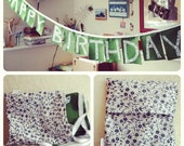 Birthday Banner, heirloom quality, wool felt and fabric, green, black and white floral