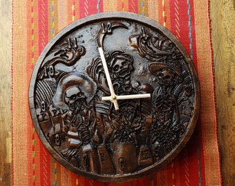 Day of the Dead Carved Wood Clock - Dia de los Muertos - wood carving with skeletons, flowers, moon and ghost spirits