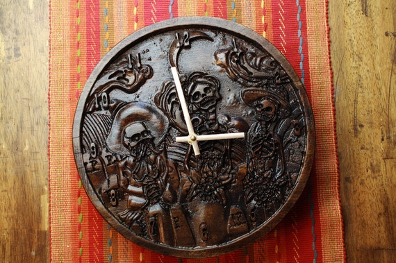 Day of the Dead Carved Wood Clock