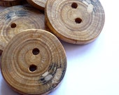 Wooden Buttons with Worm Holes - Set of 5
