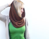 Crochet Cowl Scarf Neckwarmer in Brown and Orange