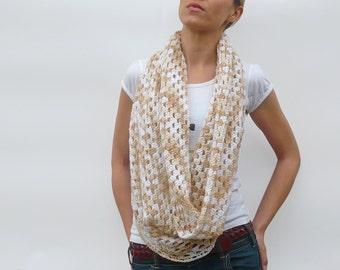 Infinity Scarf Cowl Neckwarmer Shrug in White and Beige - Crochet