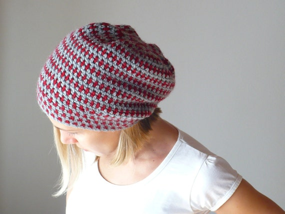 Hat Slouch Crochet in Grey with Red Dots