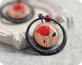Poppy earrings - red poppy earrings - poppy jewelry - red poppy - red earrings - red poppies - Free shipping