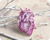 Heart brooch - anatomical jewelry - Free shipping