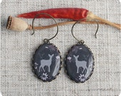 Silhouette deer  earrings - branches, tree, brown, gift for her - Free shipping / E01