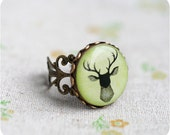 Deer ring - Deer jewelry - Antler ring - Elk - Gift for her - Free shipping / R07