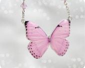 Pink Butterfly necklace - spring gift for her - Free shipping - rusteam,