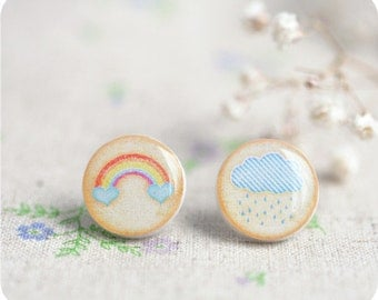 Delicate little earrings - rainbow, cloud, rain, autumn - Free shipping, tiny earring stud, small earrings - birthday, gift for her / STD07
