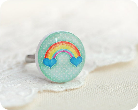 Kawaii Rainbow ring - Valentines day, Free shipping etsy - rusteam