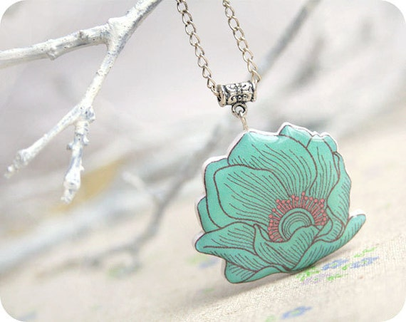 Water lily necklace - azure flower - Free shipping etsy, Valentines day - rusteam, oht
