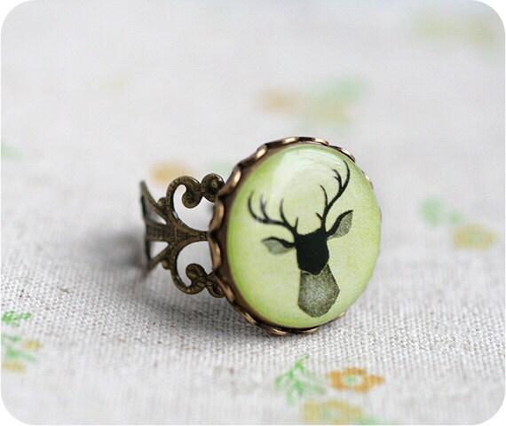 Deer ring - Deer jewelry - Antler ring - Elk - Gift for her - Free shipping / R07
