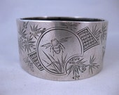 Rare and Unusual Aesthetic Victorian Silver Bee Bangle