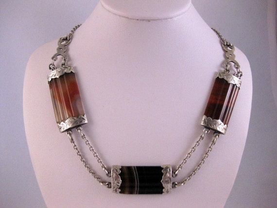 ON HOLD Beautiful Victorian Silver Scottish Agate Necklace