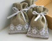 SET OF 100 Natural Rustic Linen Wedding Favor Bag  or Gift Bag 3x5
