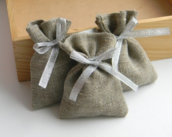 SET OF 20 Natural Rustic Linen Eco Wedding Favors Bag with silver ribbon