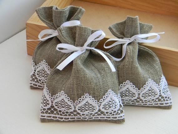 Wedding Favors, Wedding favor bags, burlap, linen, white lace - set of 10 4x5