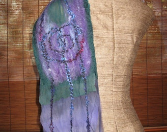 Lavendar and Green Fairy Forest Nuno Scarf