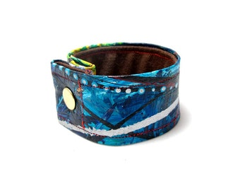 Deep, Dark Blue with Teal Green and Yellow Cuff Bracelet - For Men, Women or Kids -Handpainted, One of a Kind Wearable Art Bracelet