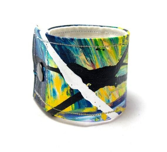 Cuff Wrist Band - Bracelet for Men - Colored Cuff - Hemp Bracelet - Blue Green Bracelet - Wide Wrist Band - Snap on Cuff - Colored Hemp