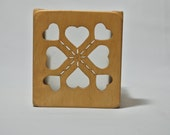 Heart Burst Wooden Candle Holder