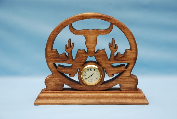 Western Boots and Steer Fretwork Desk Clock