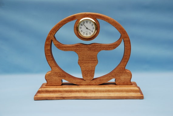 Longhorn Fretwork Desk Clock