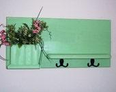 Wood Wall Shelf Shabby Cottage Chic , Furniture, Key Holders  ,  Mail Holder, Flower Holder , Display Shelf,