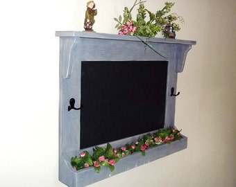 Chalkboard with Hooks, Shabby Rustic Chic    Furniture Key Holder, Mail Holder , Flower Holder, Blackboard,Message Board , Wall Decor