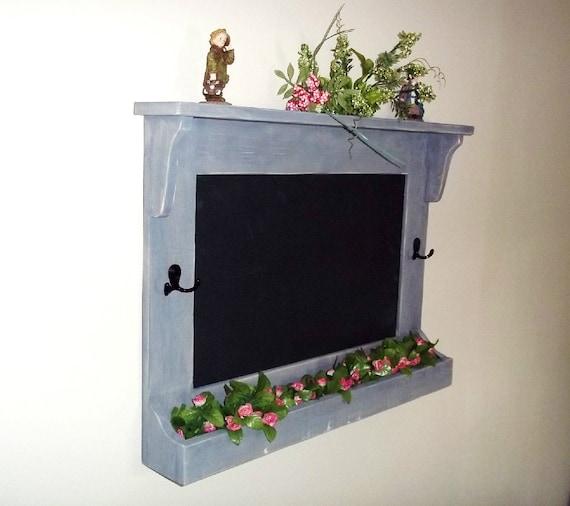 Chalkboard with Hooks, Shabby Rustic Chic    Furniture Key Holder, Mail Holder , Flower Holder, Blackboard,Message Board , Wall Decor