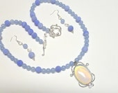 Opal Opalite Gemstone  Focal Necklace and Earring Set