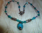 HALF OFF SALE  Turquoise Gemstone chunky Focal Necklace and earring Set