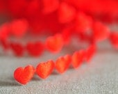 1 yard - Tiny little red heart ribbon