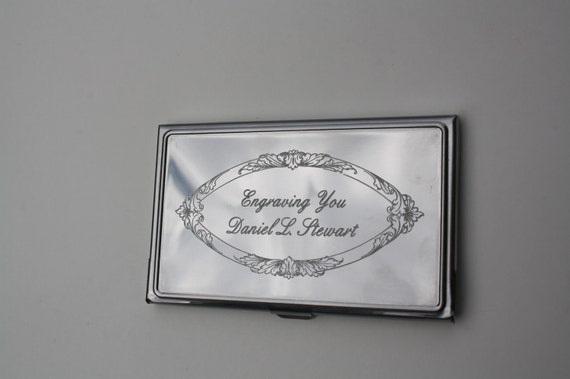 Engraved Business Card Case Groomsmen Gift Wedding Engrave Your Own Text New Stainless Steel