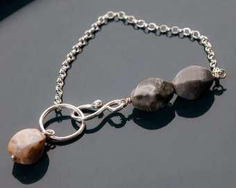 SALE! Agate silver bracelet: Original bracelet handmade with earthy patterned agate beads, sterling silver, everyday jewelry