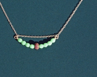 SALE! Beaded bar necklace: curved bar of faceted pastel green, mauve czech glass beads, sterling silver chain, everyday jewelry