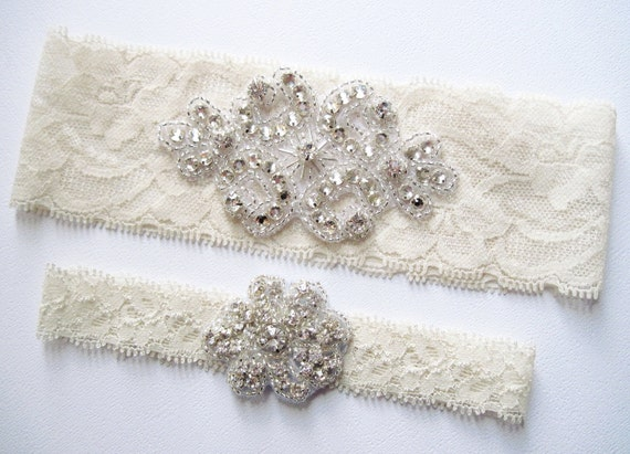 Wedding Garter Classy IVORY Bridal Garter Ivory GARTER SET - Beautiful Ivory Lace Garter Double Rhinestone Clusters