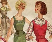 Vintage 1950s Dress Sewing Pattern Simplicity 3077 Dress Jumper and Blouse - Complete