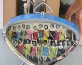Vintage Working Metal Alarm Clock - Atomic Miss America Beauty Pageant - Bright Turquoise Blue - Vintage Bathing Beauties