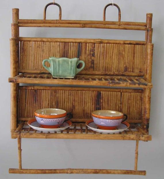 Vintage Rattan Burnt Bamboo Tortoise Shell Wall Shelf with Two Shelves and Towel Bar